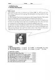 john lennon biography worksheet english teaching worksheets john lennon