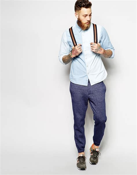 Jogger Navy 27 30 asos fit smart joggers in premium jersey in blue for navy lyst
