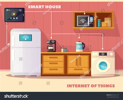 things iot smart house kitchen stock vector 501321175
