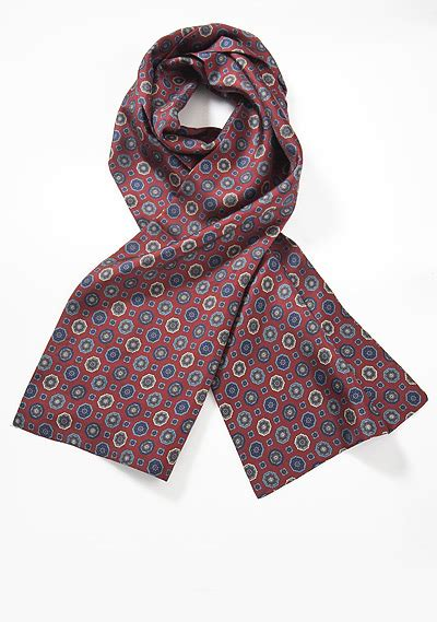 maroon color mens scarf with medallion print ties shop
