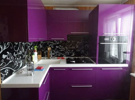 black white and purple kitchen it black cabinets with purple walls and white