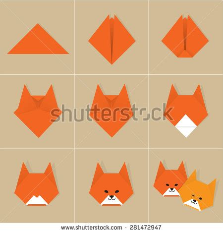 How To Make A Paper Fox - stock photos images pictures