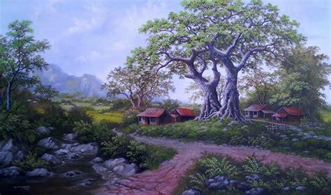 Lukisan Foto Gambar lukisan pemandangan desa naturalism painting