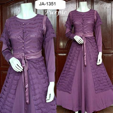 Baju Pesta Jersey baju pesta brokat jersey lena 3 warna baju pesta busana muslim modern model gamis terbaru