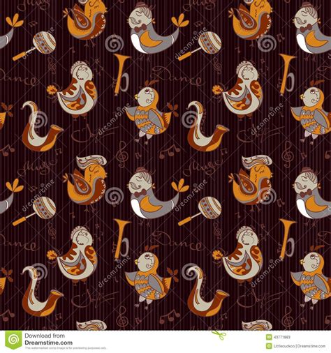 pattern jazz cartoon jazz orchestra concept wallpaper birds sing and