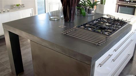 Slate Grey Countertops Finished Concrete Slate Grey Countertop With Decorative