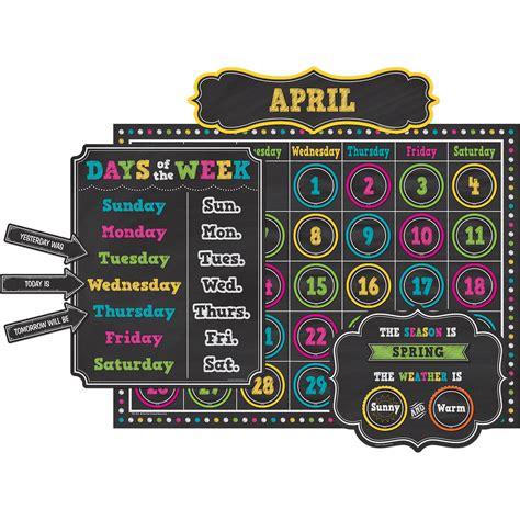 Set Calendar Chalkboard Brights Calendar Bulletin Board Display Set
