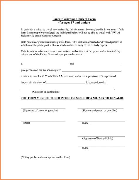 travel consent letter for minor in parental travel consent yellow notebook paper background