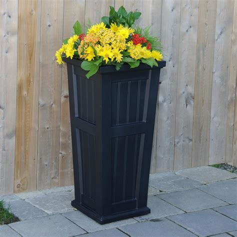 Column Planters by Mayne Cape Cod 15 1 2 In Square Black Plastic Column