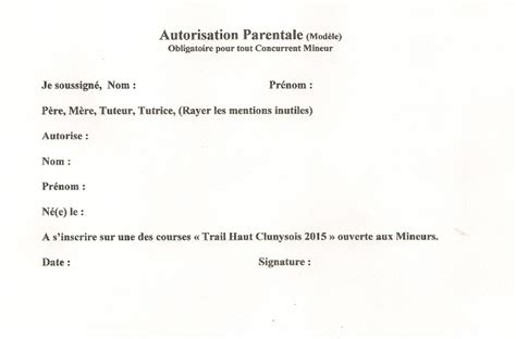 Exemple De Lettre Autorisation Parentale Pour Voyager Modele Une Autorisation Parentale Document