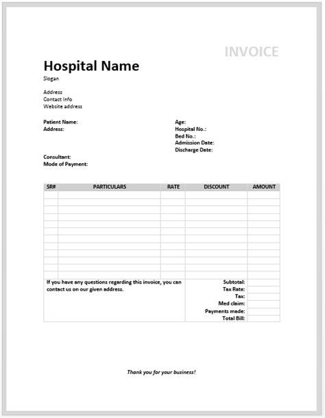 free templates for medical invoices medical invoice template free invoice templates