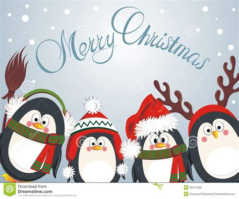 printable christmas cards penguin merry christmas cute penguins royalty free stock images