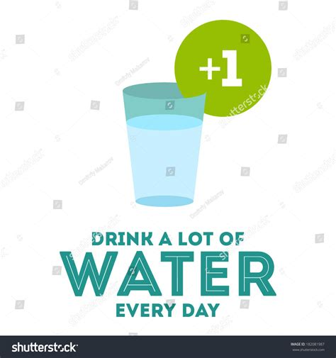 drinks a lot of water drink a lot of water flat poster stock vector illustration 182081987