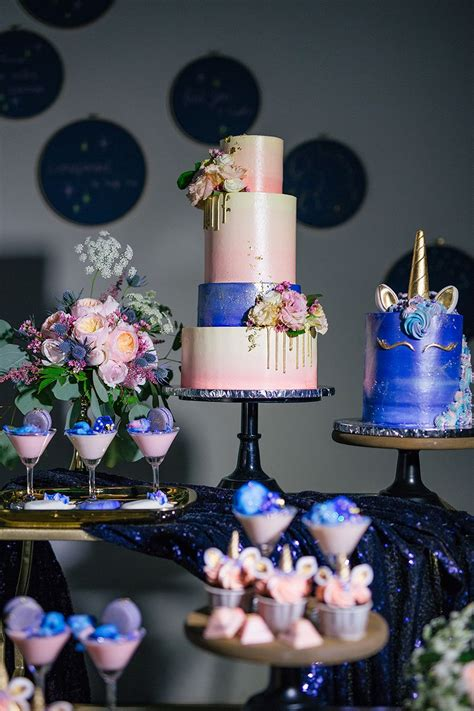 unicorn and galaxy themed wedding dessert table styled shoot in 2019 cakes desserts and