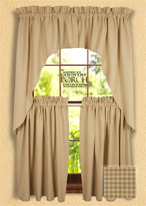 country swag curtains cottage wheat minicheck window curtain swags