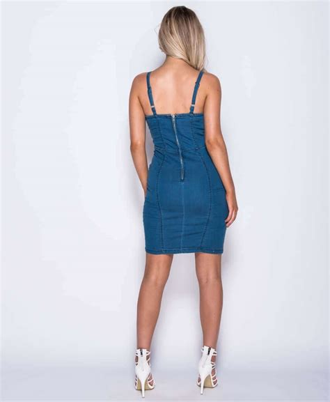 Bodycon Dress Aira Denim Inner blue embroidered front bodycon tie up denim dress baby boutique shop