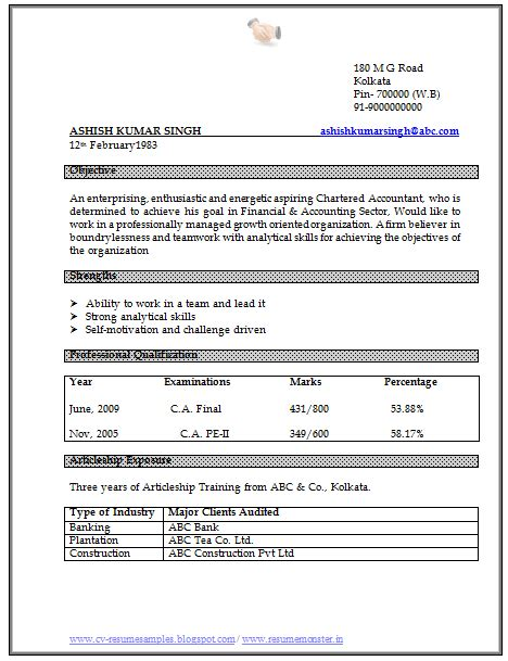 curriculum vitae format doc 10000 cv and resume sles with free ca