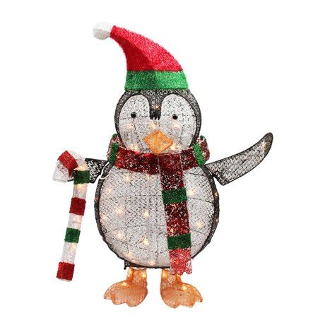 walmart christmas yard decorations 34 quot lighted penguin with yard decoration walmart