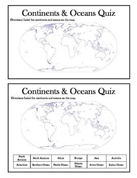 printable quiz continents and oceans continents and oceans quiz worksheet worksheets