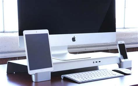 mac laptop holder for desk iforte uniti stand desk organizer for imac and apple