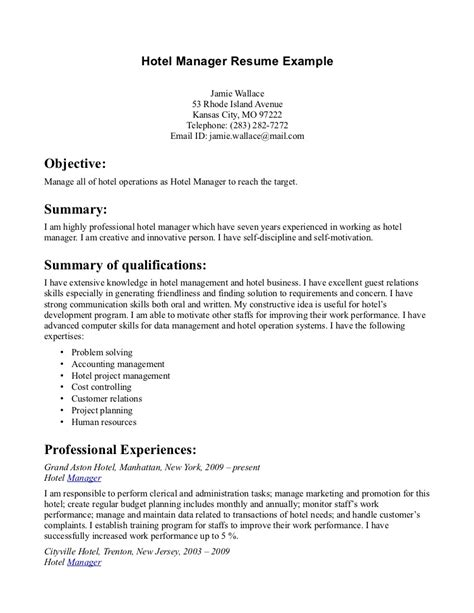 Hotel Resume Objective by Resume Exles For Hotel Management Resume Format