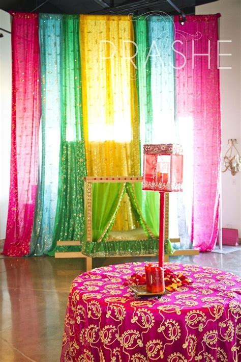 Beautiful decor with dupattas!   Sangeet and mehendi in