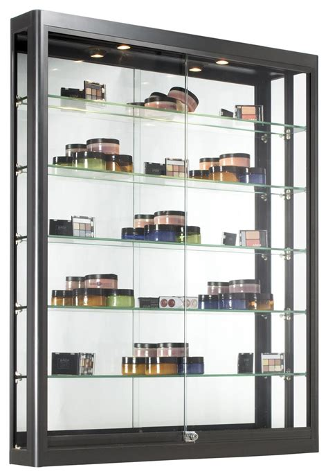 wall mounted glass display cabinet black wall case glass sliding doors with 5 shelves