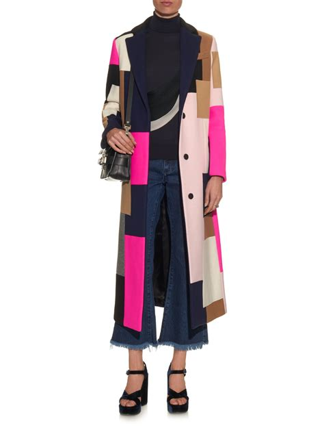 Patchwork Coat - lyst msgm patchwork wool blend coat