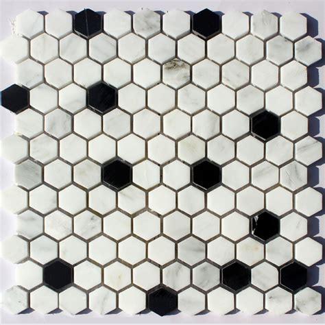 marble stone mosaic small hexagonal black and white floor