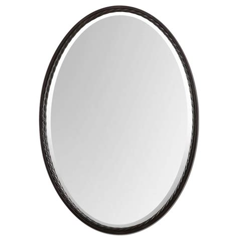 oval bathroom mirrors oil rubbed bronze shop global direct bronze beveled oval wall mirror at