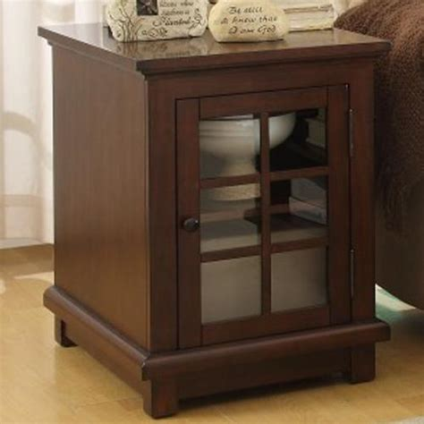 End Table With Glass Door Homelegance Bellamy End Table With Glass Door With Shelf