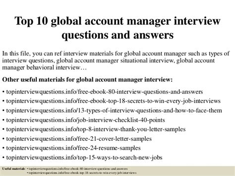 Global Account Manager by Top 10 Global Account Manager Questions And Answers
