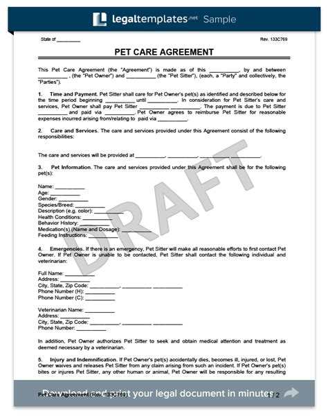 Pet Sitting Form Template Arts Arts Pet Sitter Template