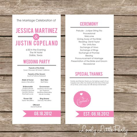 Simple Ultra Modern Wedding Program Diy Printable Lovely Modern Wedding Program Templates