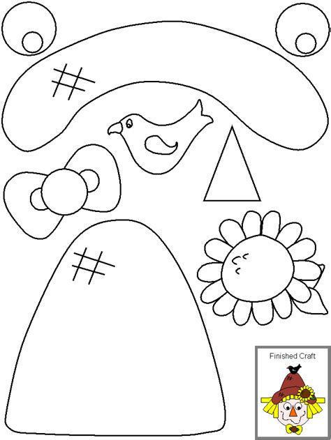 paper scarecrow hat template sketch coloring page