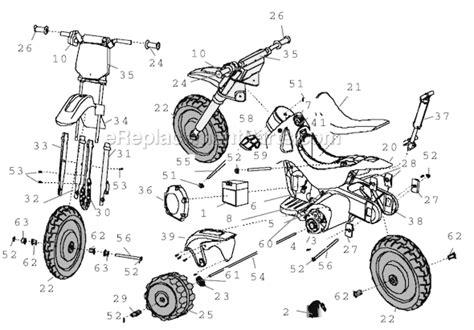 dirt bike part diagram power wheels 73600 9997 parts list and diagram after 06