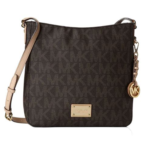 michael kors jet set large travel logo crossbody messenger handbag brown ebay