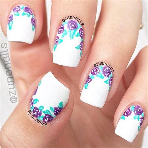 purple flower nails purple flower nails