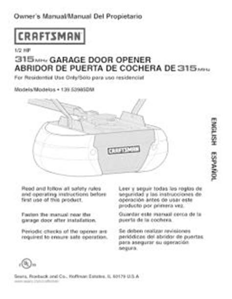craftsman garage door opener instructions 139 53985dm craftsman 1 2 hp garage door opener manual