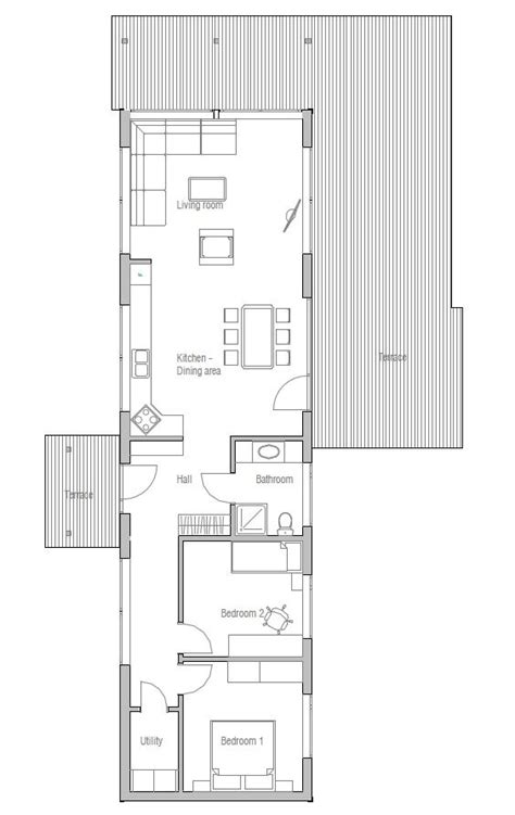 small house plan two bedrooms suitable to narrow lot