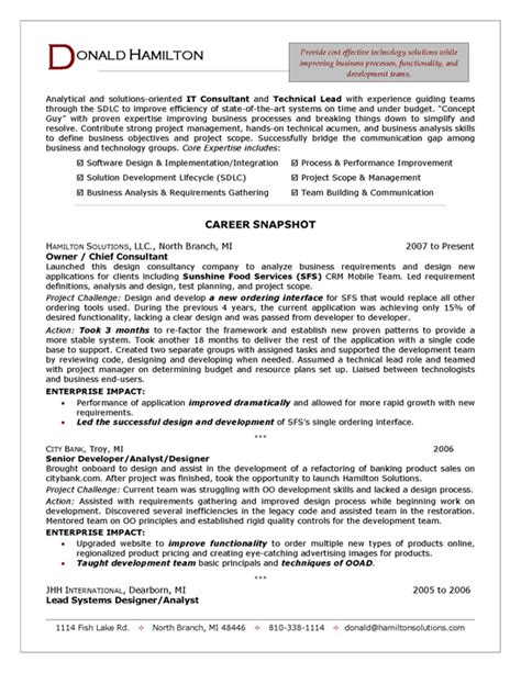 how to write a consulting resume it consultant resume sle