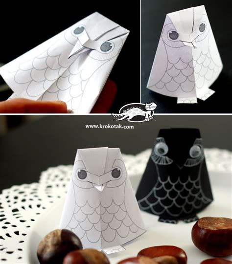 How To Make Paper Owls - krokotak paper owl baby for colouring