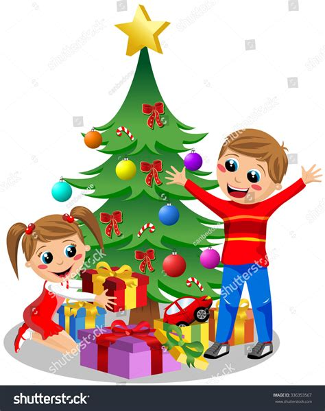 Happy Kids Opening Christmas Gifts Next Stock Vector ... Happy Kids Opening Christmas Presents