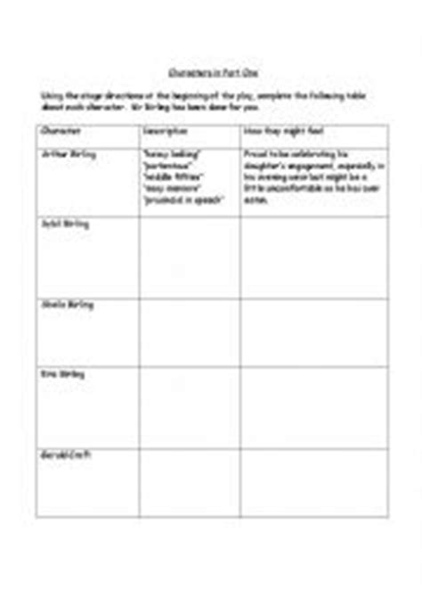 an inspector calls themes worksheet english worksheets an inspector calls characters in part one