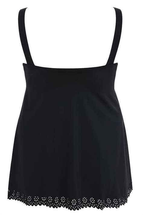 Cut Out Back Swim Dress black cut out detail swimdress with tummy plus