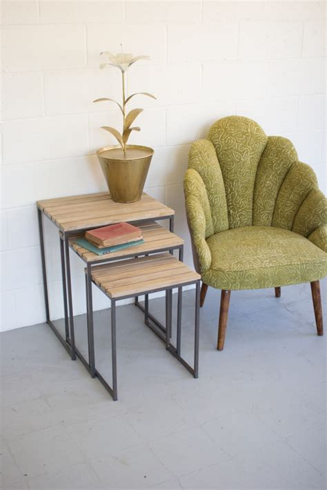 slat wood nesting table set brickell collection furniture