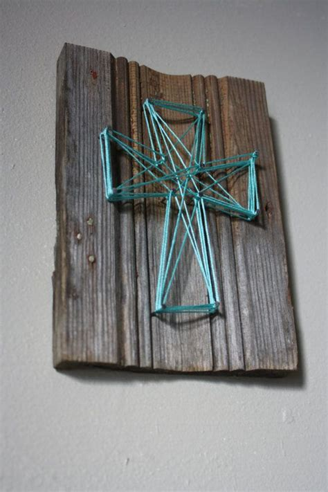 String Wall Decor - reclaimed wood trim with string cross wall decor