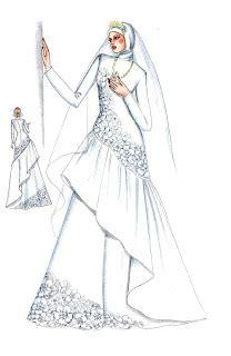sketsa desain wedding dress model jilbab muslim modern 2011 gambar jilbab muslim
