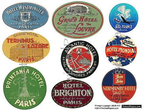 printable travel stickers 9 large luggage stickers vintage paris french by