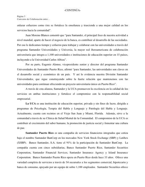 convenio de colaboracin comunicado de prensa convenio de colaboraci 243 n banco santander